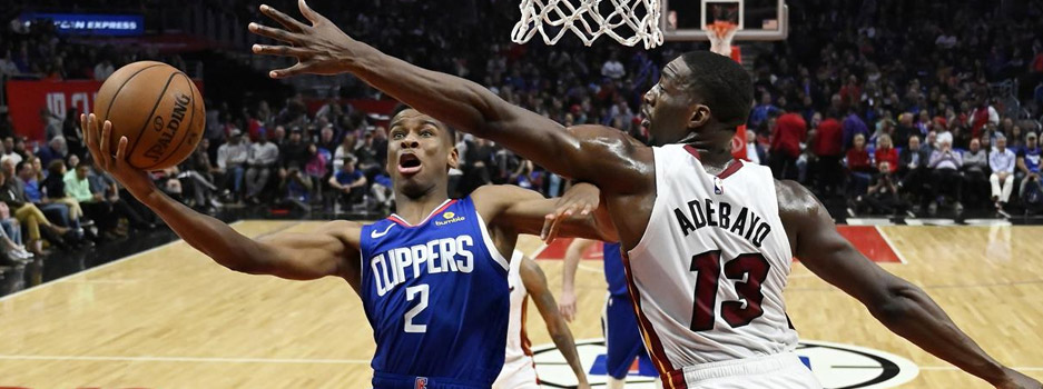 The NBA features a potential Finals preview as the Miami Heat face off against the Los Angeles Clippers.