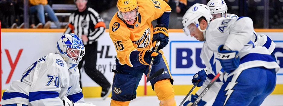 The NHL features a matchup between two playoff hopefuls with the Tampa Bay Lightning at the Nashville Predators.